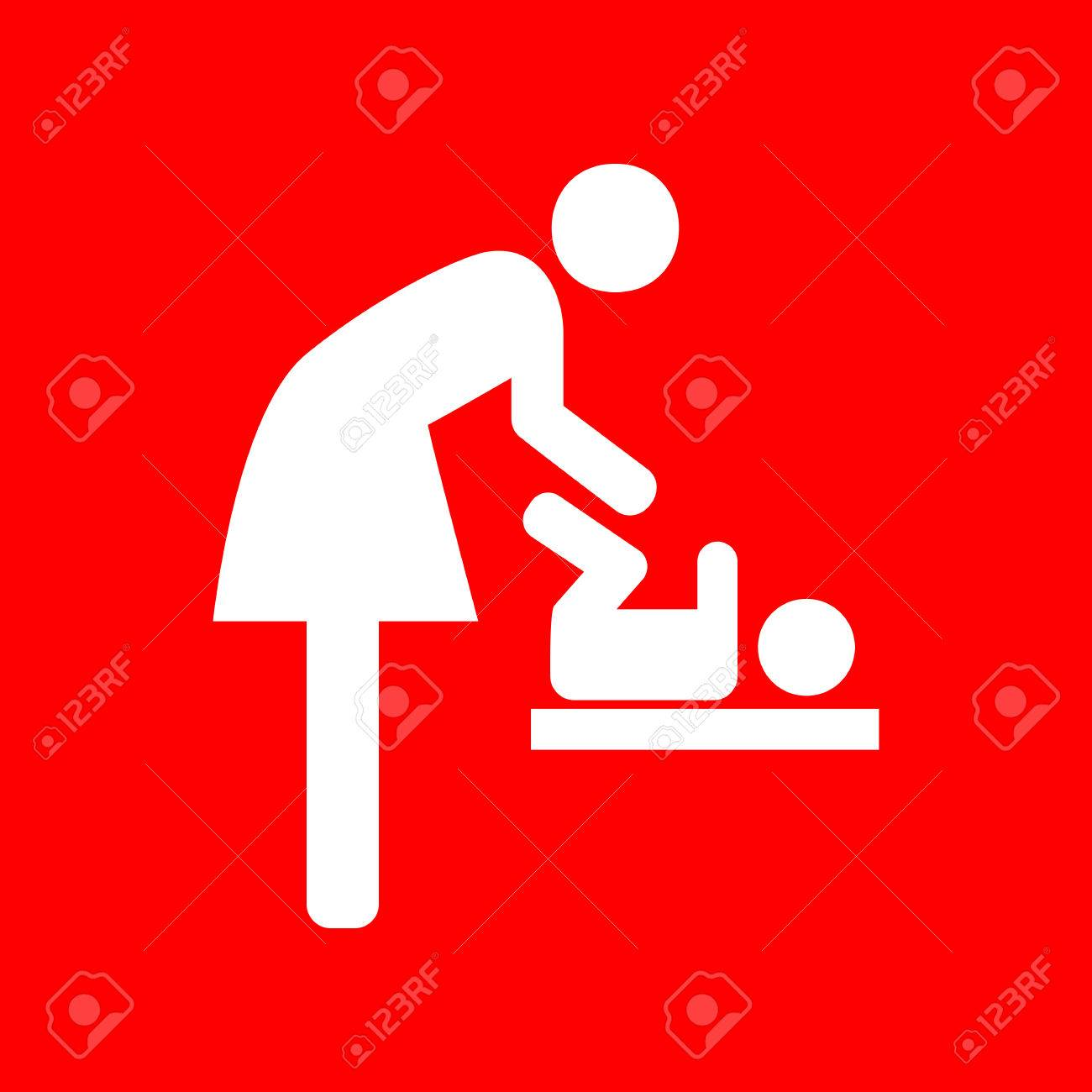 Symbol for women and baby baby changing white icon on red symbol for women and baby baby changing white icon on red background stock biocorpaavc Gallery