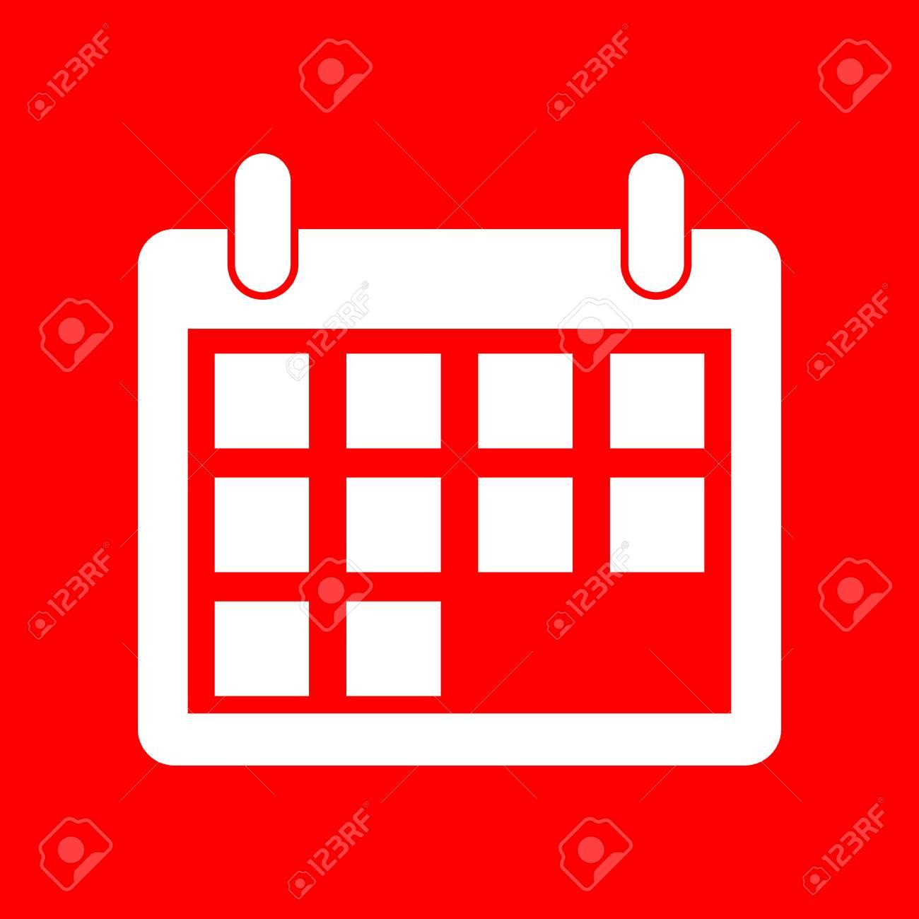Calendario Vector Blanco.Calendar Sign Illustration White Icon On Red Background