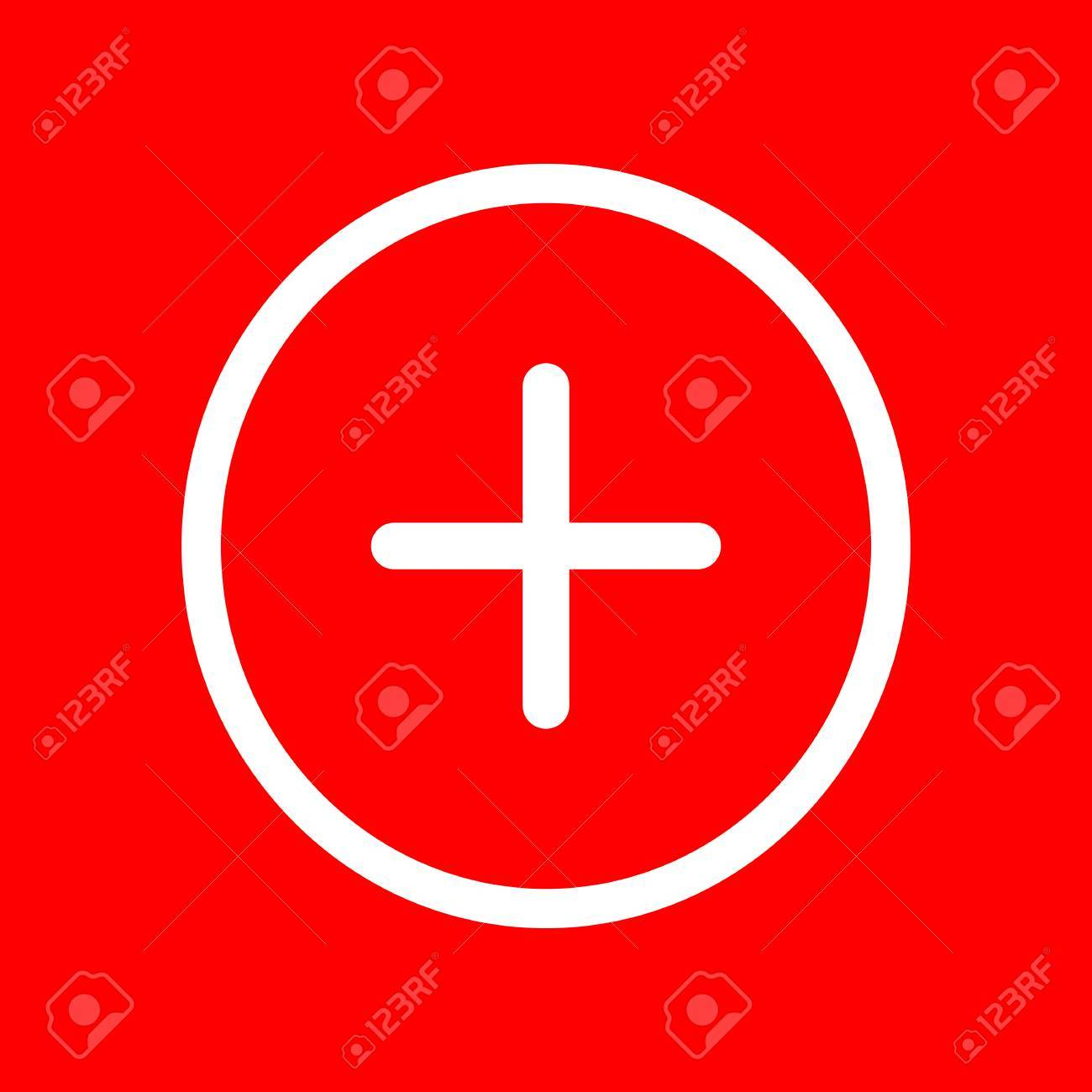 Positive symbol plus sign white icon on red background royalty positive symbol plus sign white icon on red background stock vector 57504625 biocorpaavc Choice Image