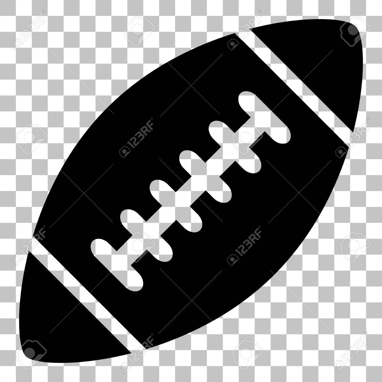 American Simple Football Ball Flat Style Black Icon On Transparent