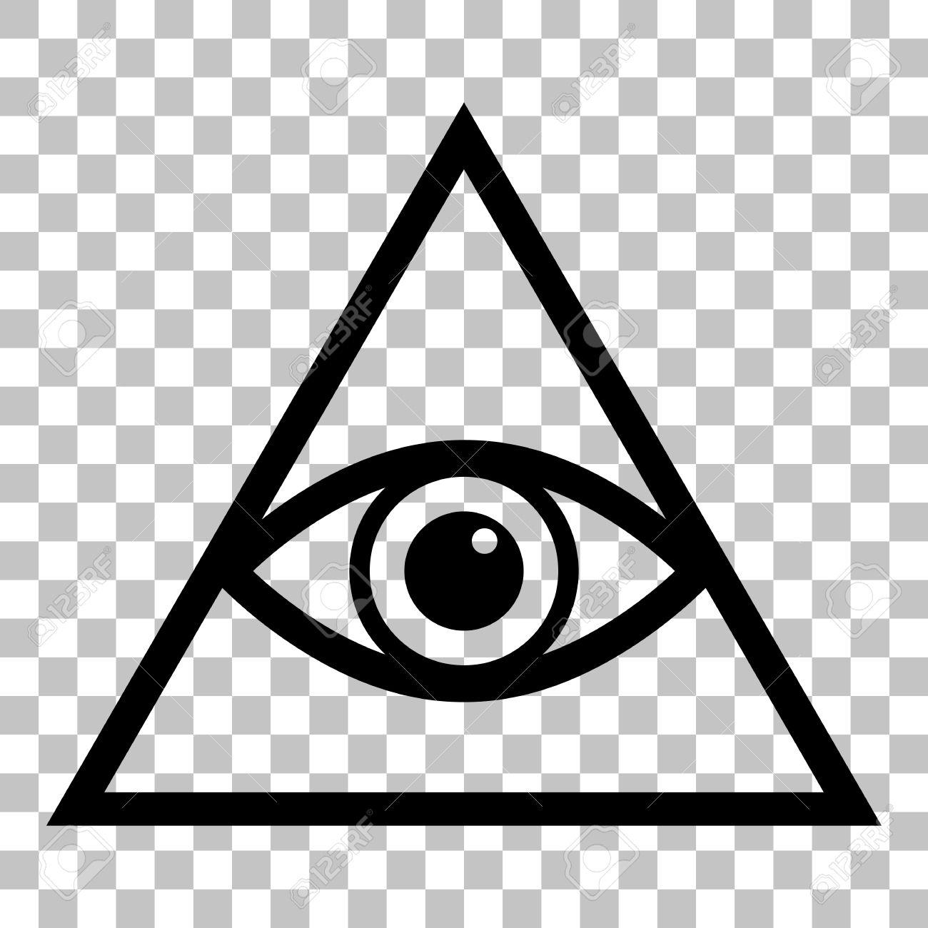 All Seeing Eye Pyramid Symbol Freemason And Spiritual Flat Style Black Icon On Transparent