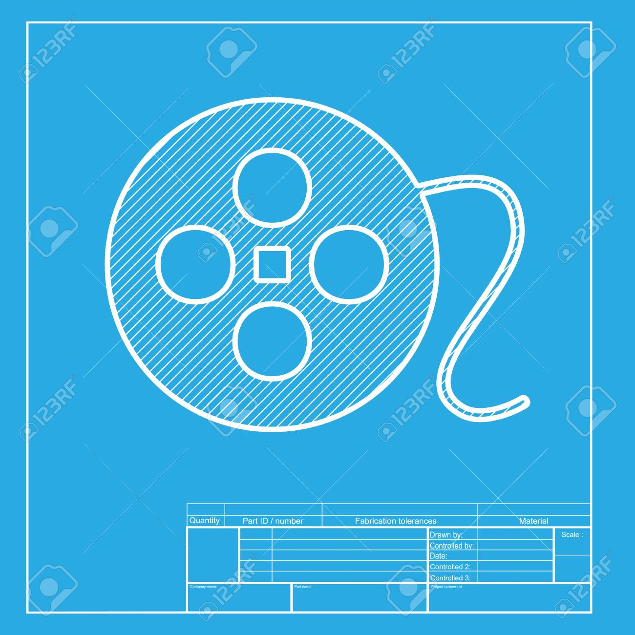 Film circular sign white section of icon on blueprint template film circular sign white section of icon on blueprint template stock vector 58741826 malvernweather Choice Image
