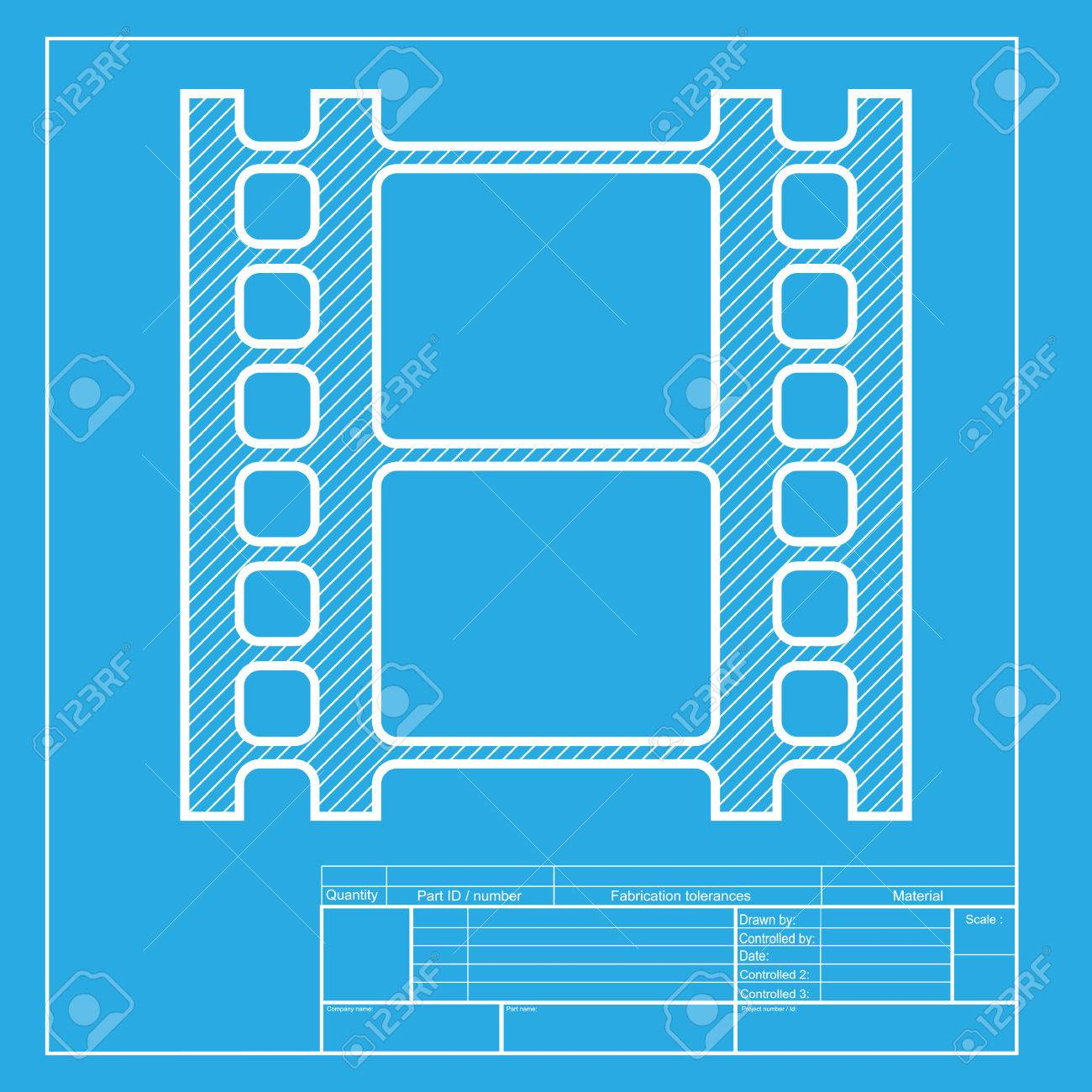 Reel of film sign white section of icon on blueprint template reel of film sign white section of icon on blueprint template stock vector malvernweather Image collections