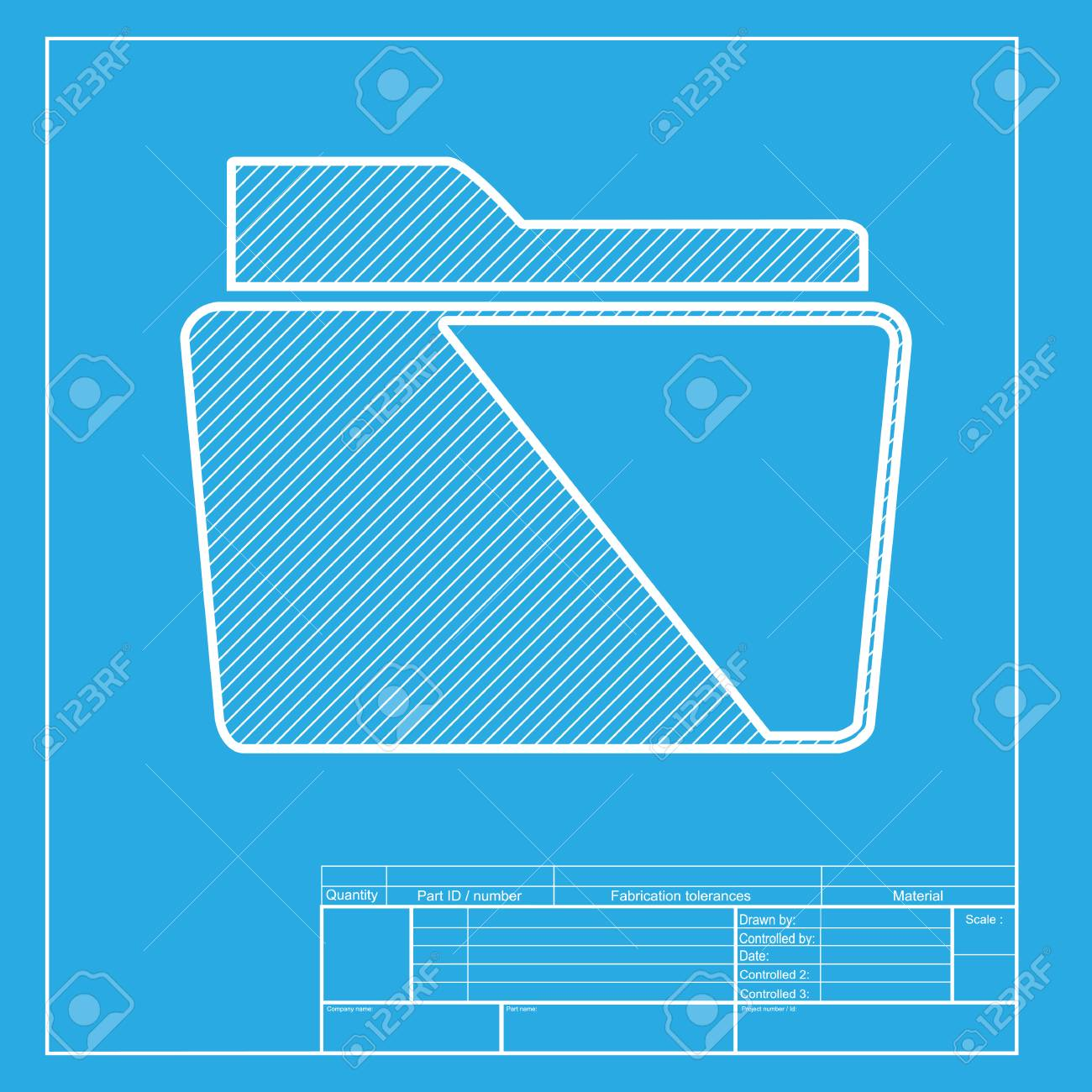 folder sign illustration white section of icon on blueprint