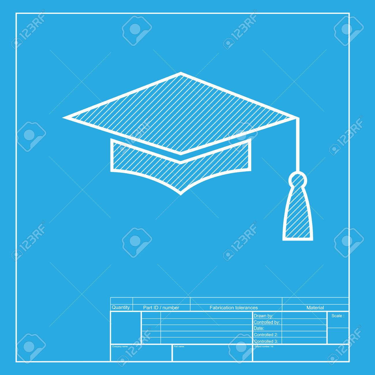 mortar board or graduation cap education symbol white section