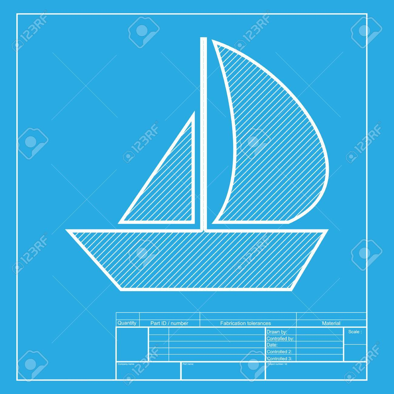 Sail boat sign white section of icon on blueprint template royalty sail boat sign white section of icon on blueprint template stock vector 58750642 malvernweather Choice Image