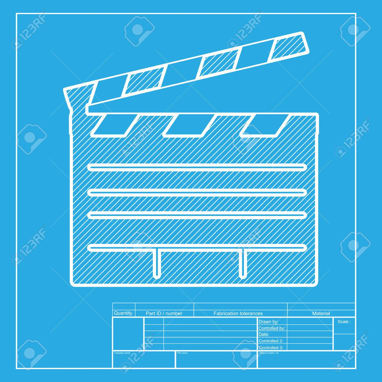 Film clap board cinema sign white section of icon on blueprint film clap board cinema sign white section of icon on blueprint template stock vector malvernweather Choice Image
