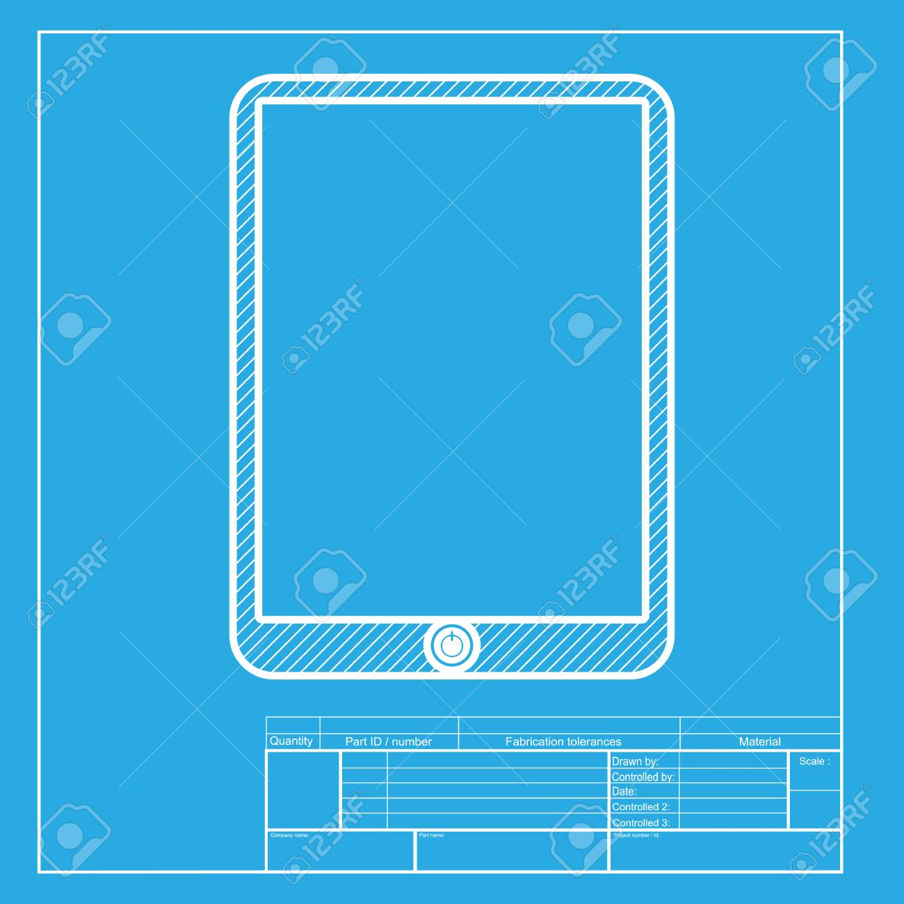 computer tablet sign white section of icon on blueprint template