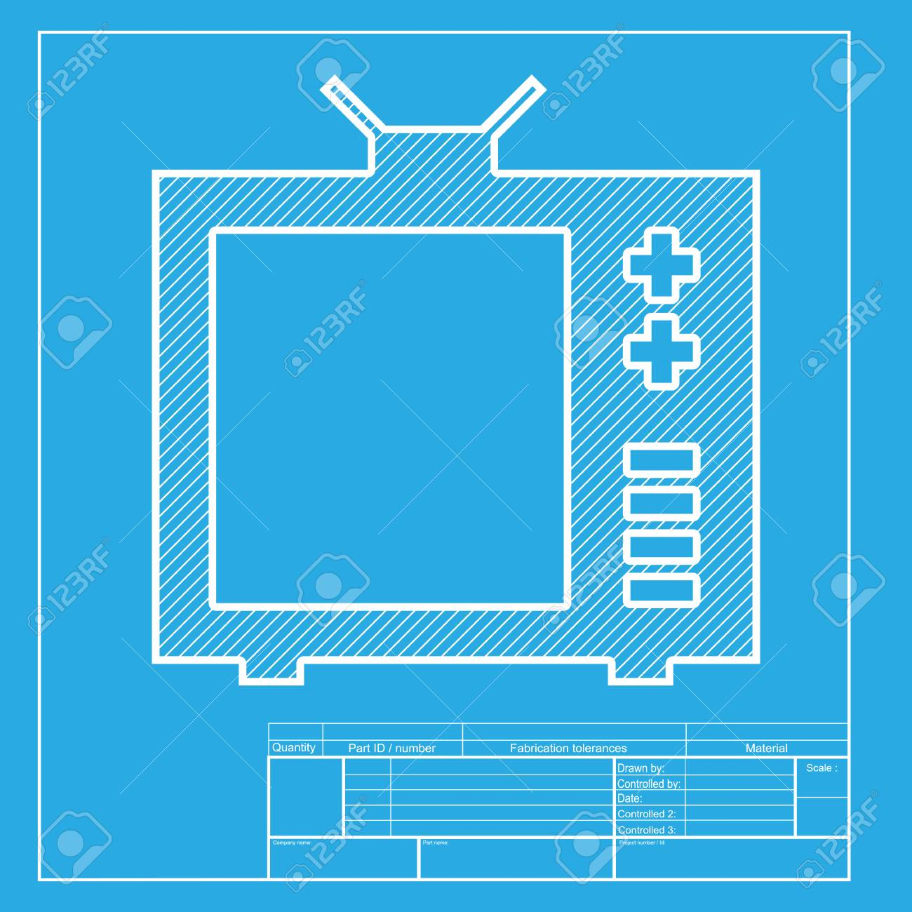 Tv sign illustration white section of icon on blueprint template white section of icon on blueprint template stock vector 58750663 malvernweather Choice Image