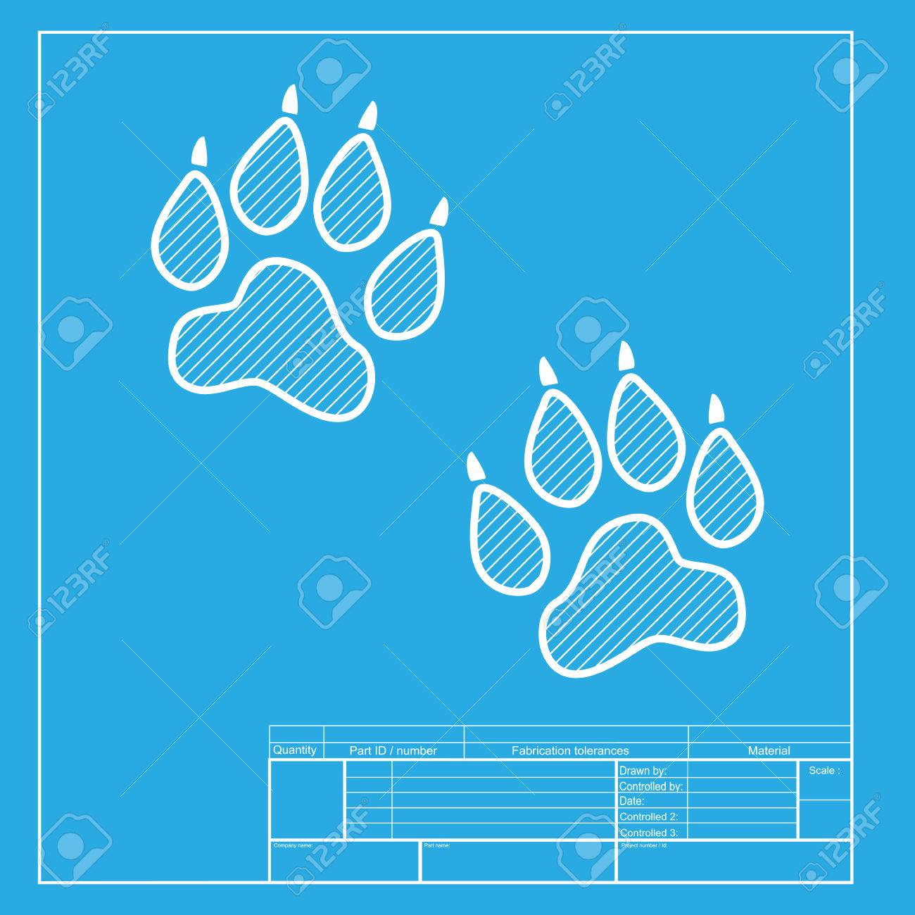 Animal tracks sign white section of icon on blueprint template white section of icon on blueprint template stock vector 58751128 malvernweather Choice Image