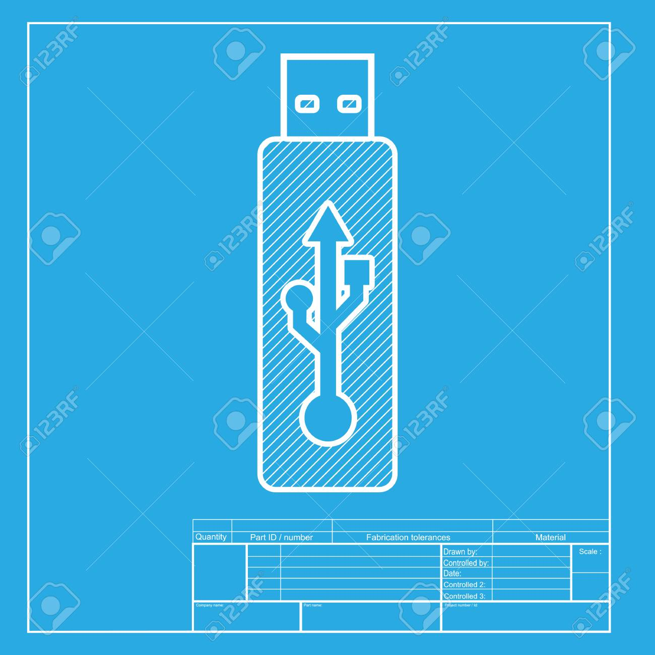 Vector usb flash drive sign white section of icon on blueprint vector usb flash drive sign white section of icon on blueprint template stock vector buycottarizona Choice Image