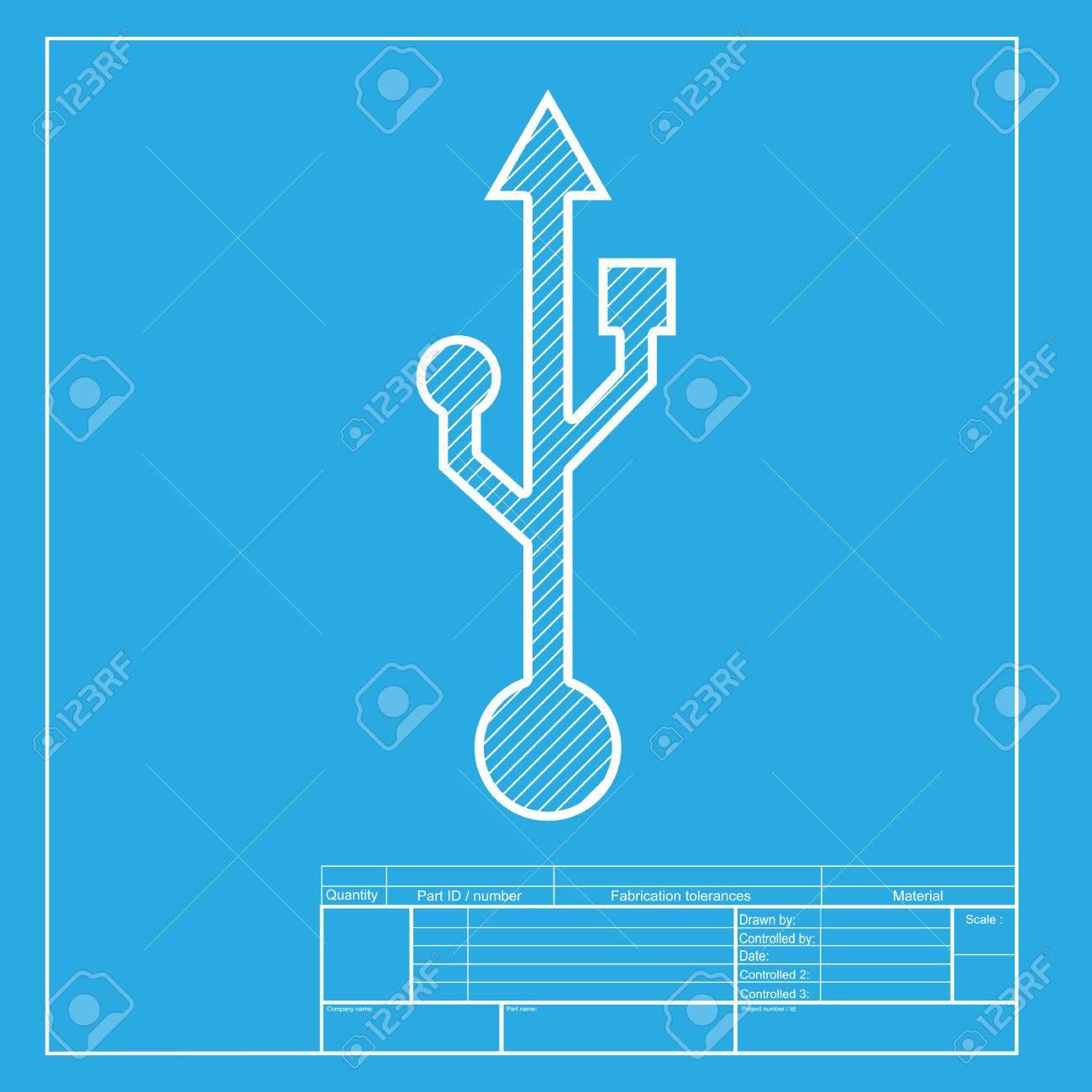 USB-Zeichenabbildung. Weißer Abschnitt Des Symbols Auf Blaupause ...