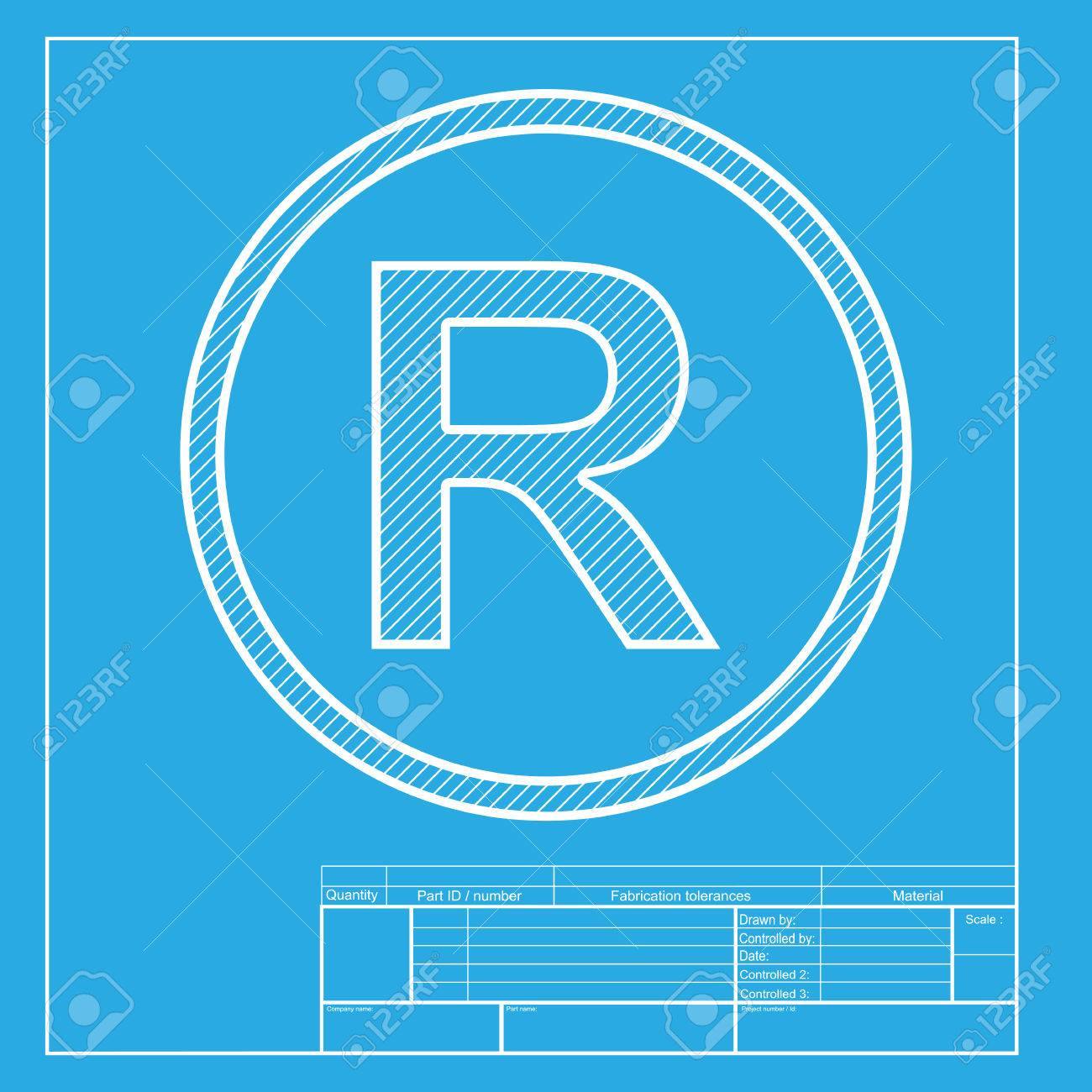 Registered trademark sign white section of icon on blueprint white section of icon on blueprint template stock vector 58750909 malvernweather Images