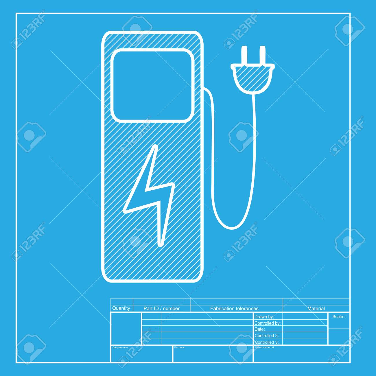 Electric car charging station sign white section of icon on electric car charging station sign white section of icon on blueprint template stock vector malvernweather Images