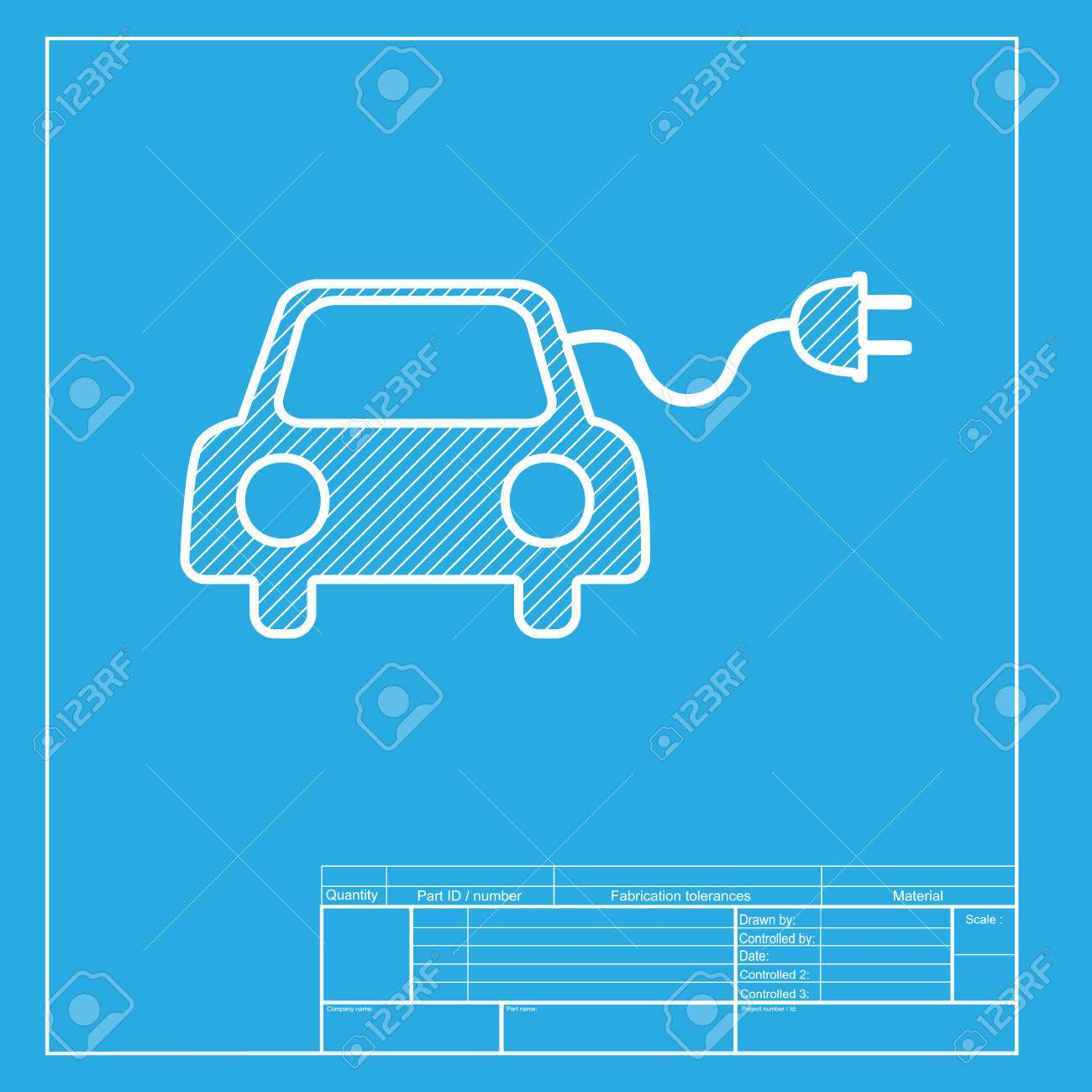 Eco electric car sign white section of icon on blueprint template eco electric car sign white section of icon on blueprint template stock vector malvernweather Images
