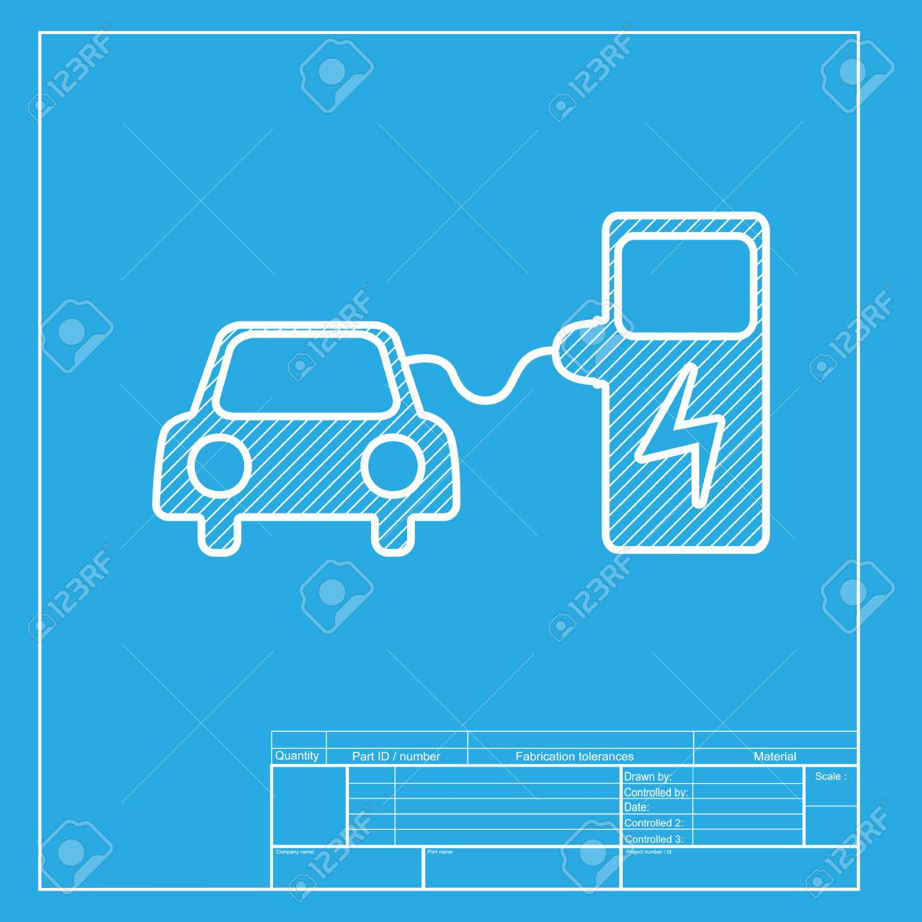 Electric car battery charging sign white section of icon on electric car battery charging sign white section of icon on blueprint template stock vector malvernweather Images