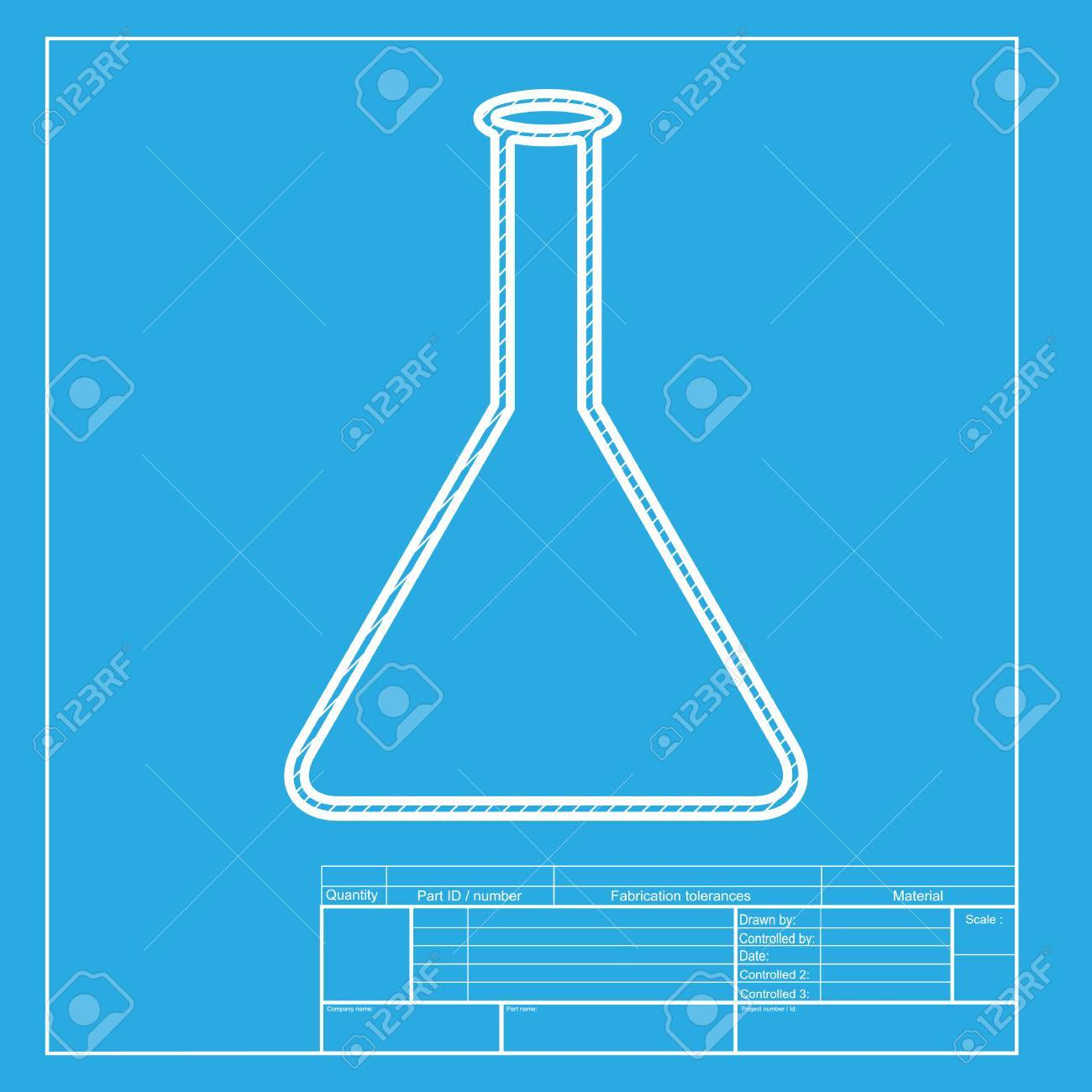 Conical flask sign white section of icon on blueprint template conical flask sign white section of icon on blueprint template stock vector 58750888 malvernweather Choice Image