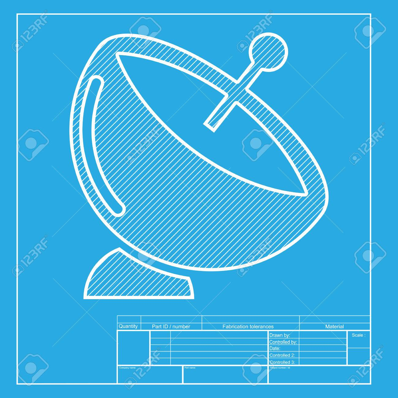 Satellite dish sign white section of icon on blueprint template white section of icon on blueprint template stock vector 58750833 malvernweather Image collections