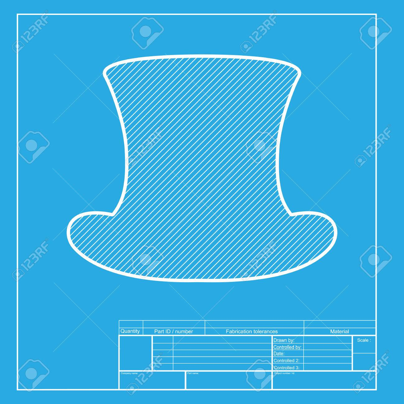 top hat sign white section of icon on blueprint template royalty
