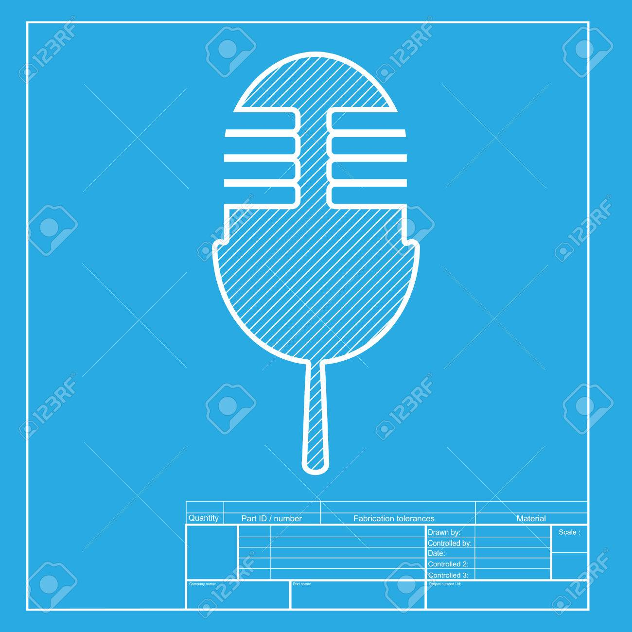 Retro microphone sign white section of icon on blueprint template white section of icon on blueprint template stock vector 58755003 malvernweather Choice Image