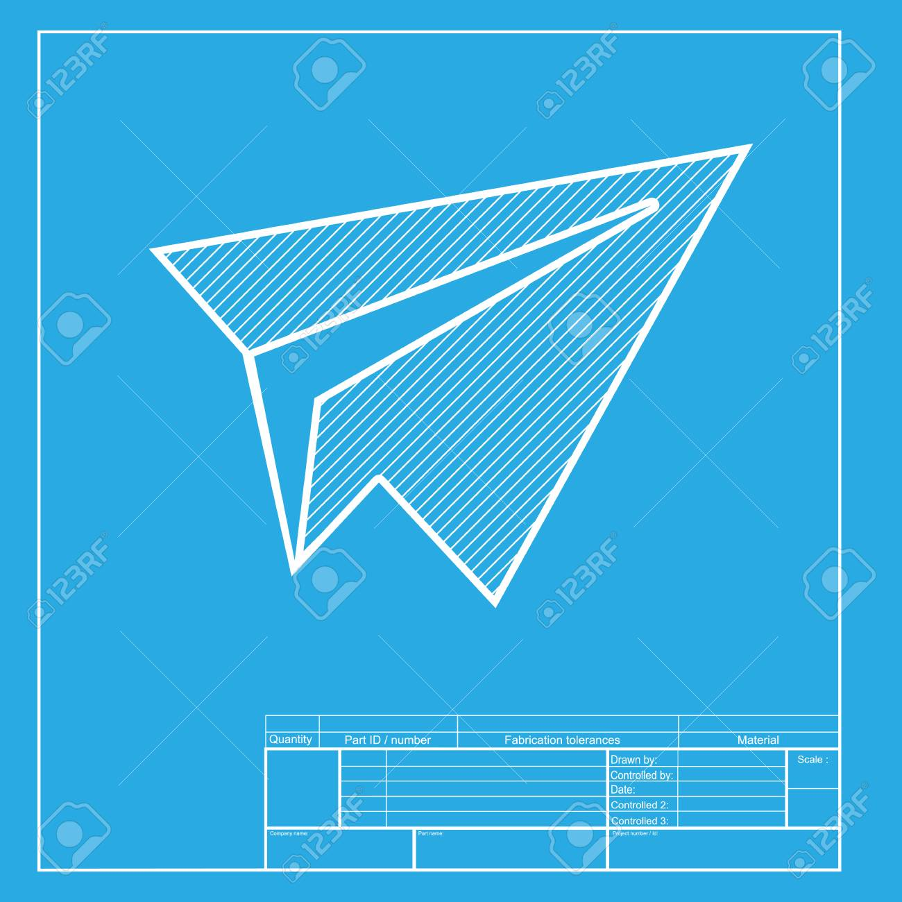 Paper airplane sign white section of icon on blueprint template paper airplane sign white section of icon on blueprint template stock vector 58754726 malvernweather Choice Image