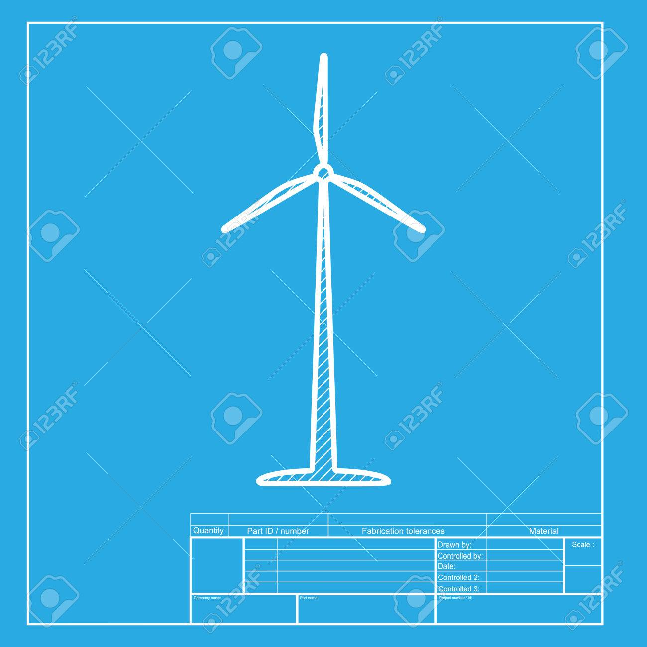 Wind turbine logo or sign white section of icon on blueprint vector wind turbine logo or sign white section of icon on blueprint template malvernweather Choice Image