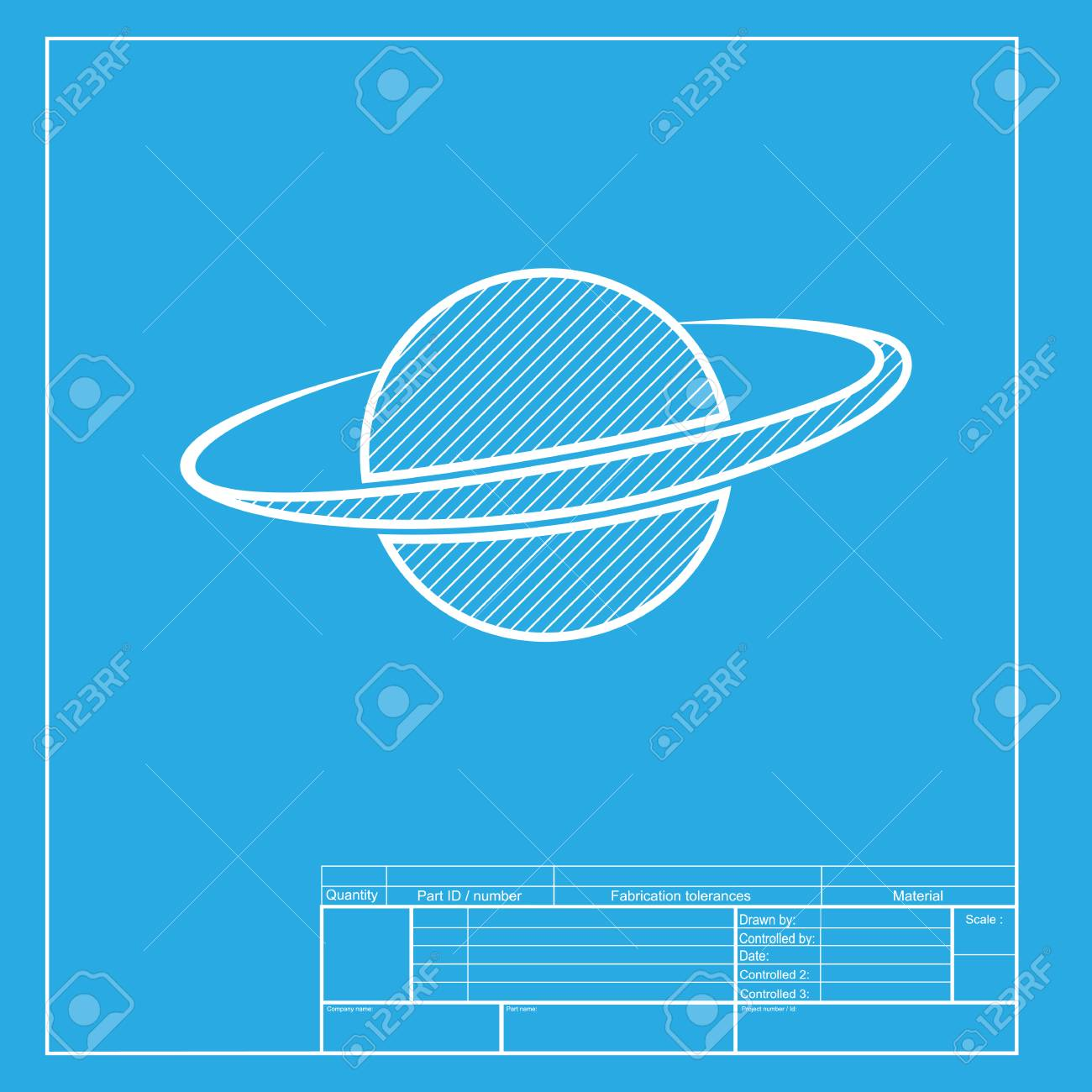 planet in space sign white section of icon on blueprint template