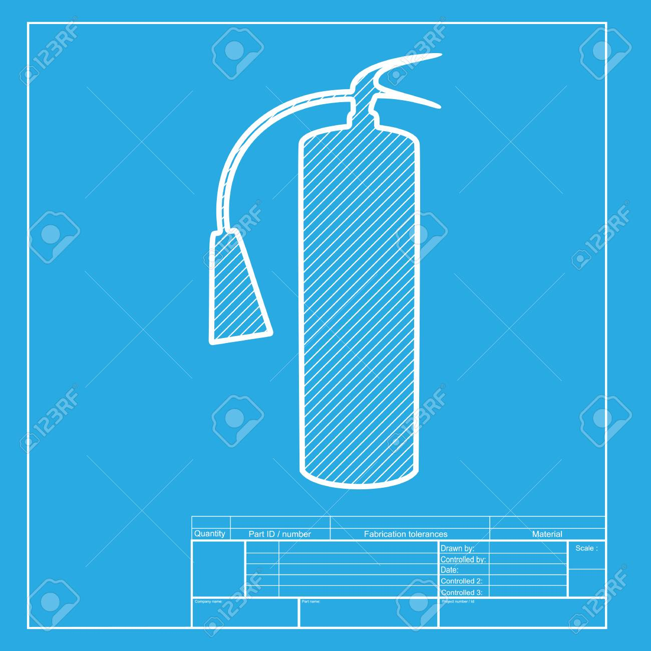 fire extinguisher sign white section of icon on blueprint template