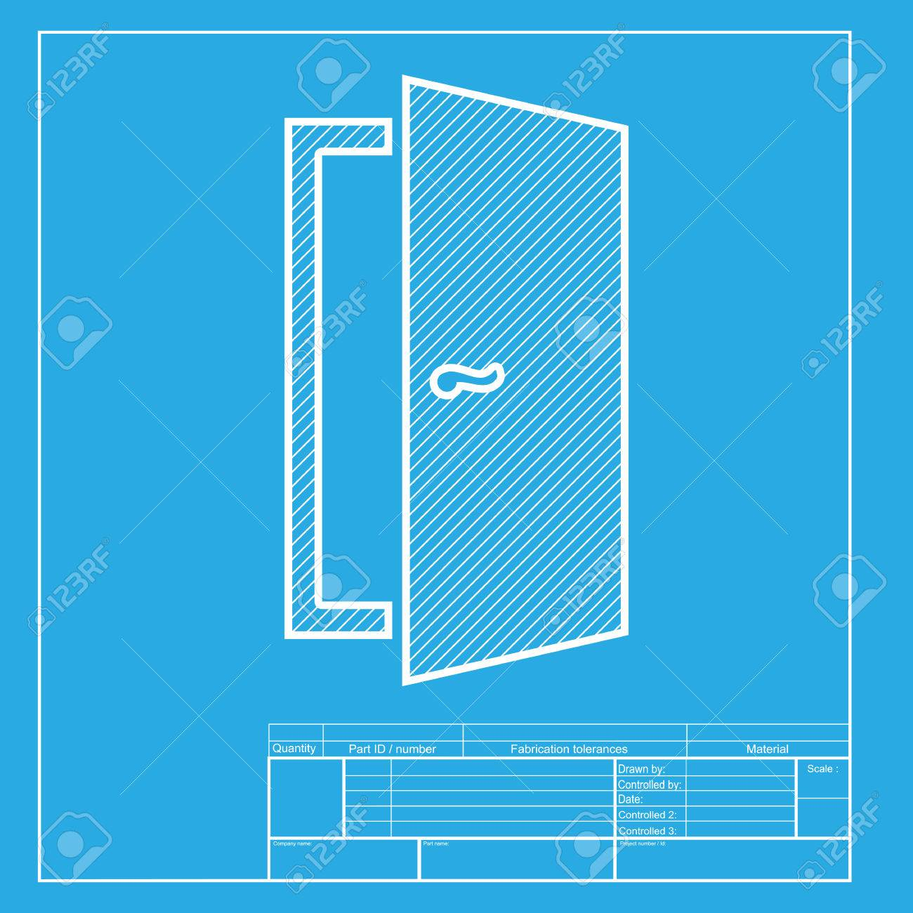 Door Sign Illustration White Section Of Icon On Blueprint Template - Door sign template