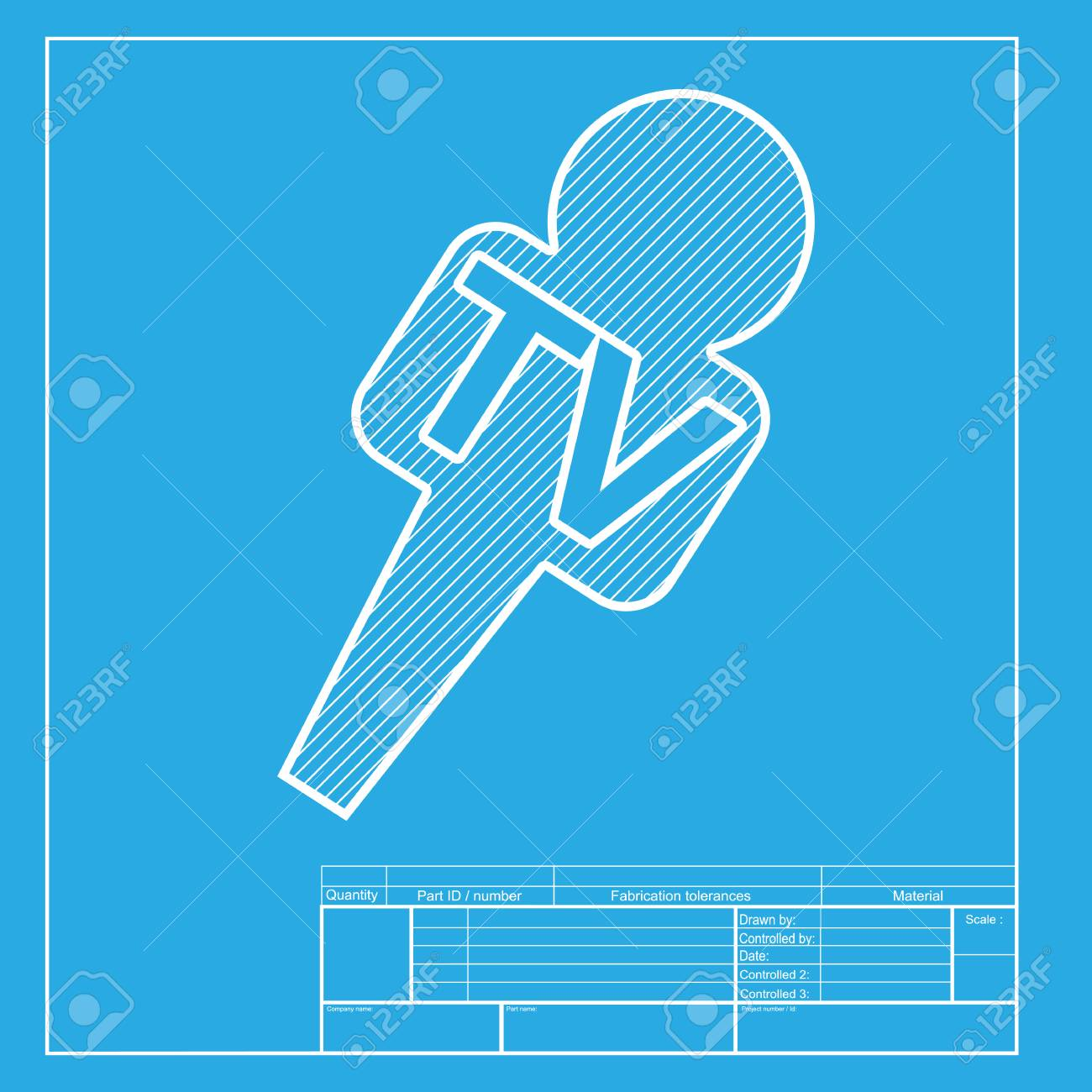 Tv microphone sign illustration white section of icon on blueprint white section of icon on blueprint template stock vector malvernweather Choice Image