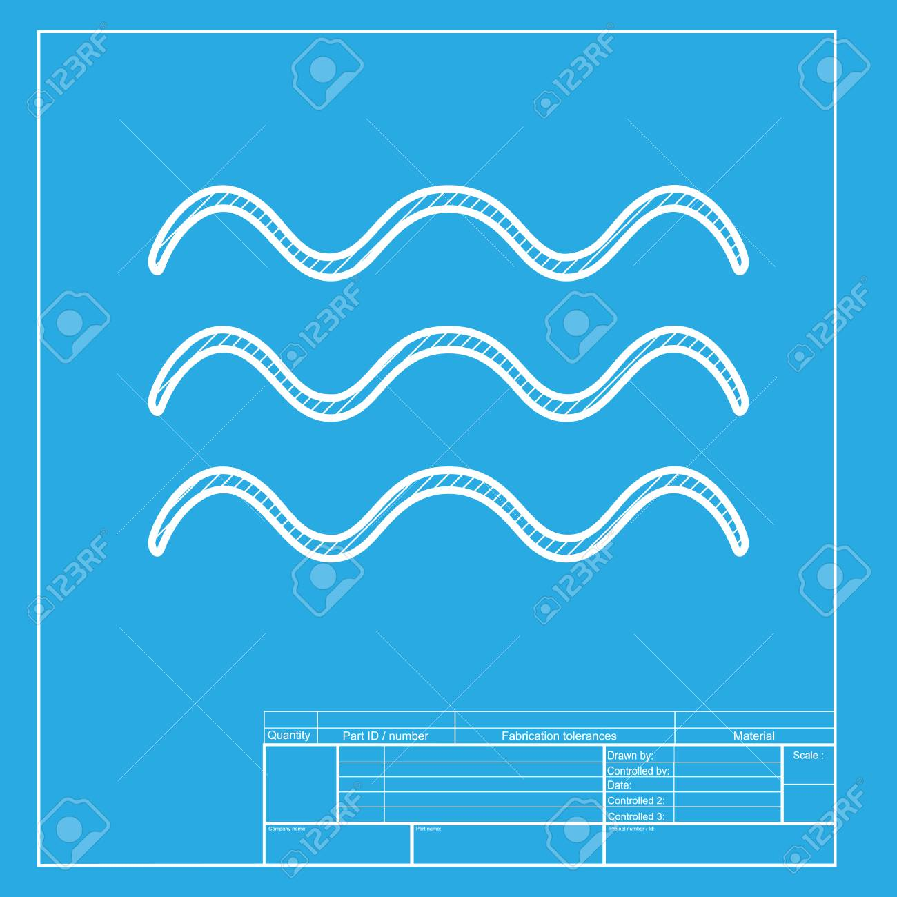waves sign illustration white section of icon on blueprint template