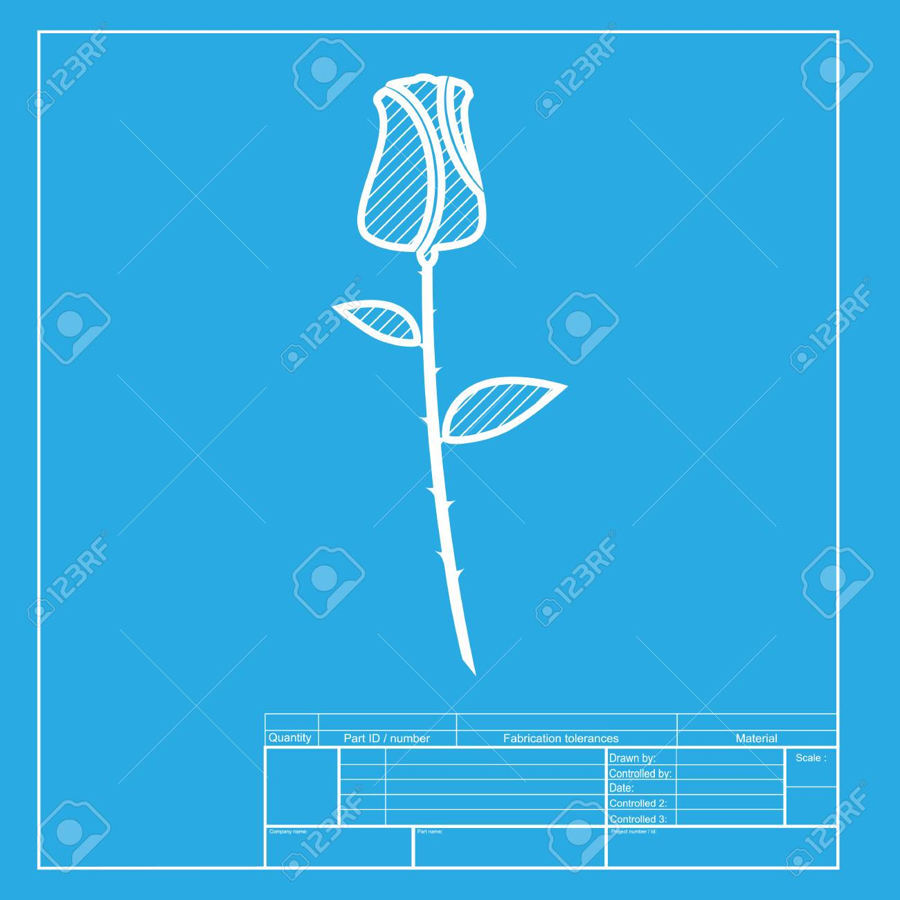 rose sign illustration white section of icon on blueprint template