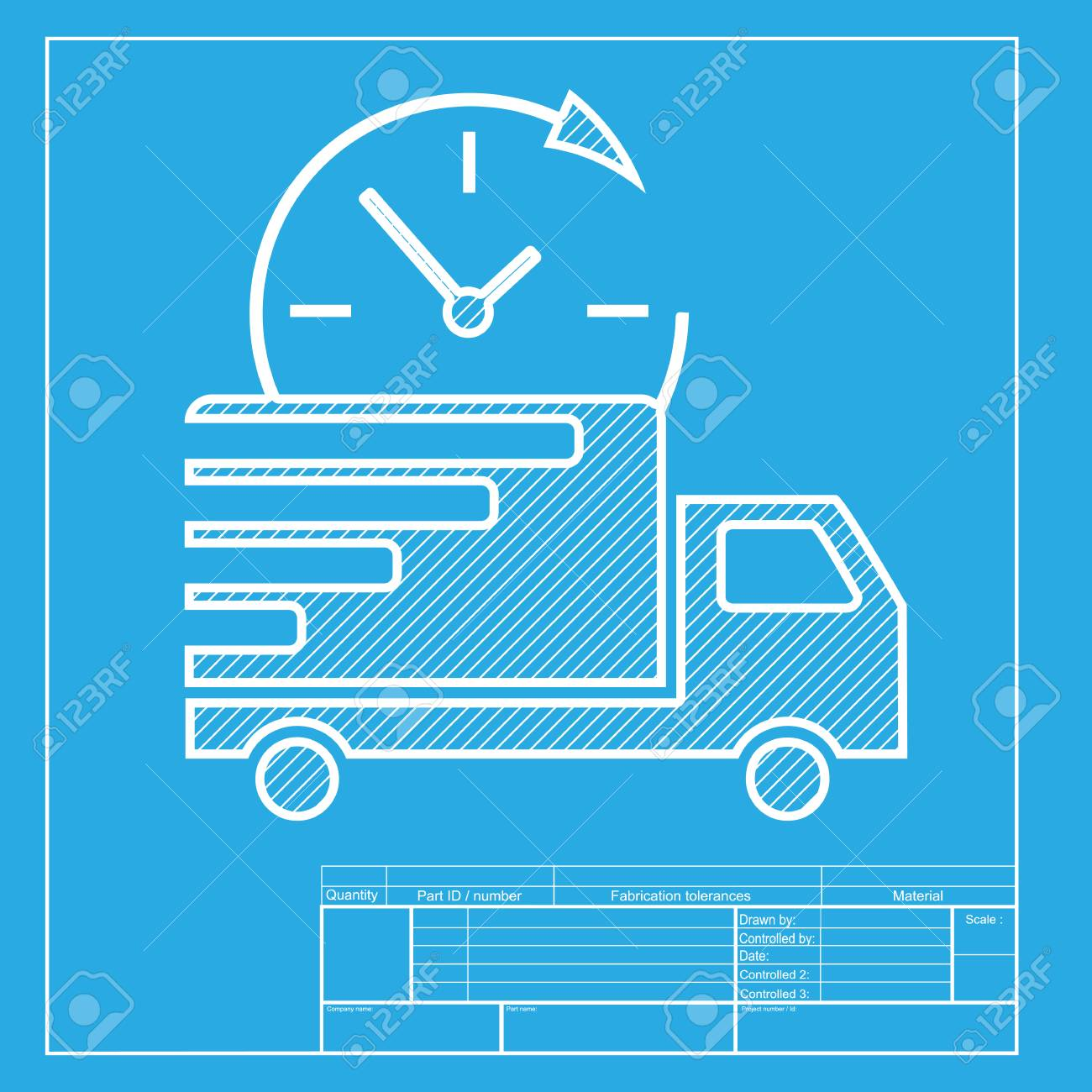 Delivery sign illustration white section of icon on blueprint white section of icon on blueprint template stock vector 58755725 malvernweather Image collections