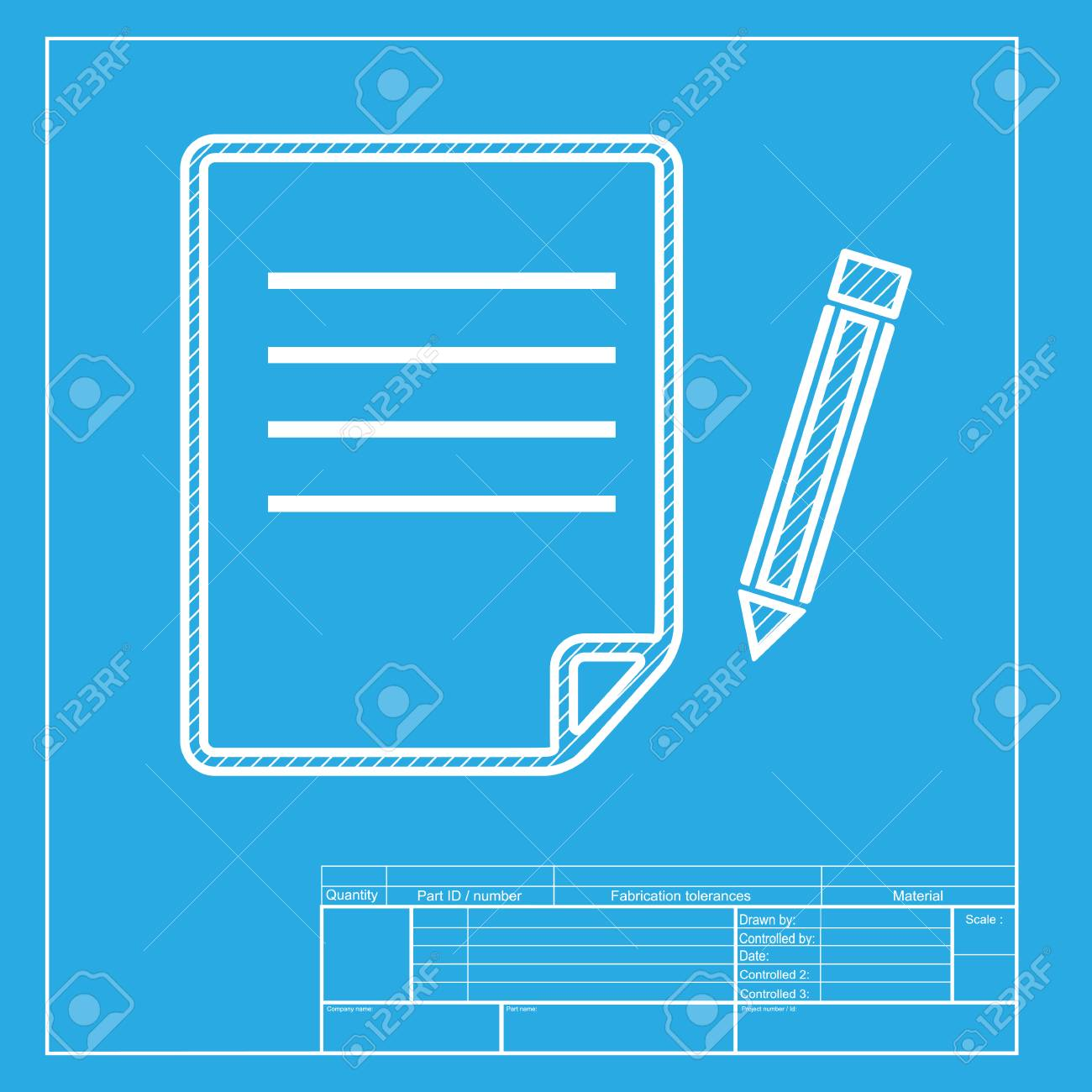 Paper and pencil sign white section of icon on blueprint template paper and pencil sign white section of icon on blueprint template stock vector malvernweather Image collections
