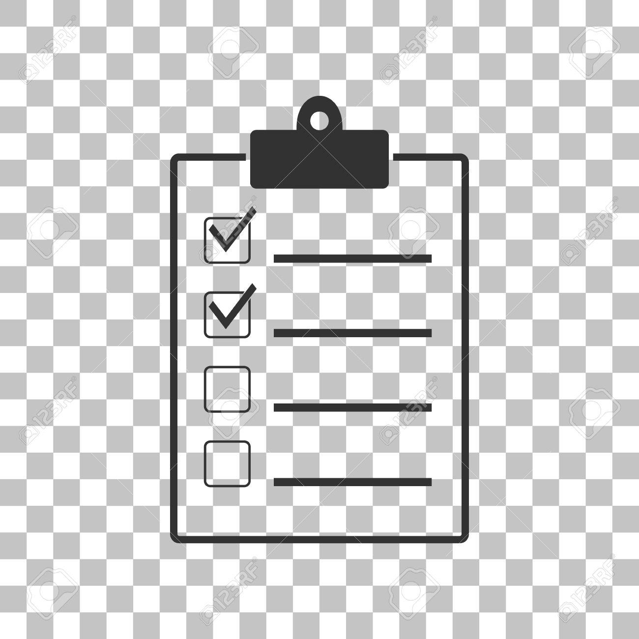 checklist sign illustration. dark gray icon on transparent