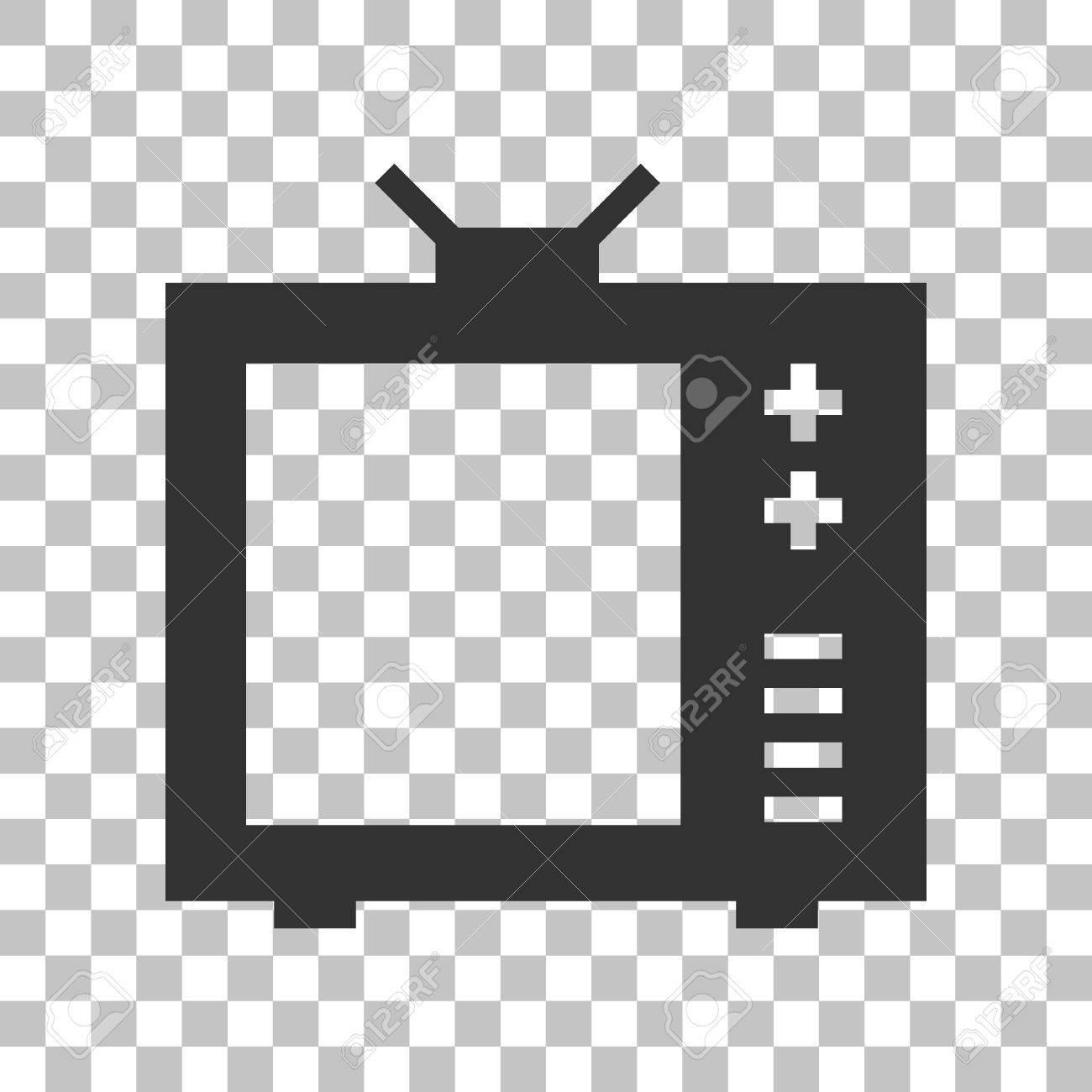テレビ看板のイラスト。透明な背景に暗い灰色のアイコン