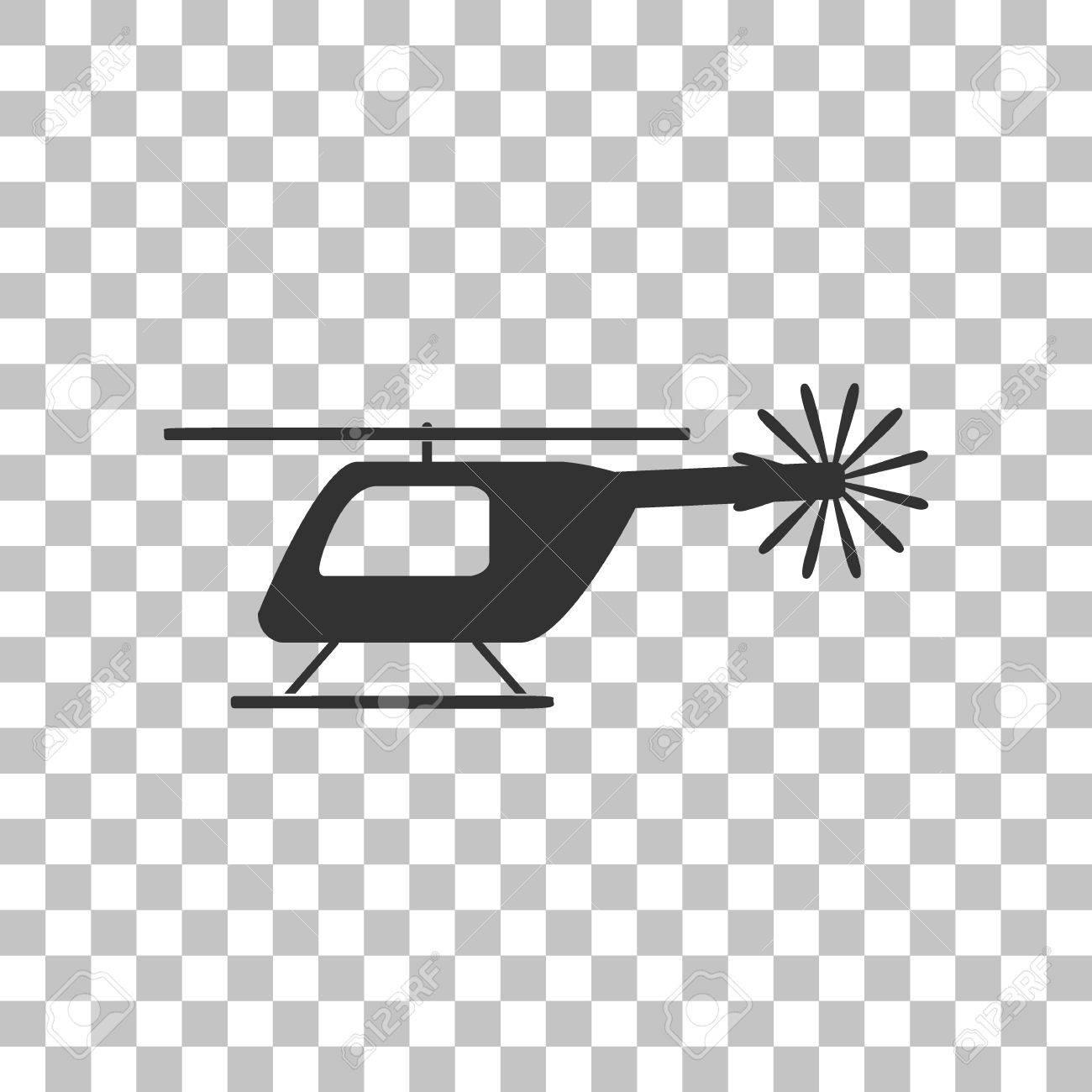 ヘリコプターのサインのイラスト。透明な背景に暗い灰色のアイコン