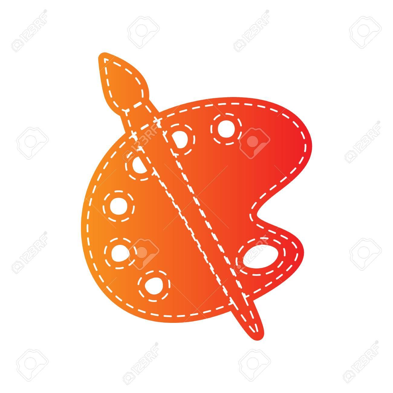 palette et signe de brosse. applique orange isolée. clip art libres