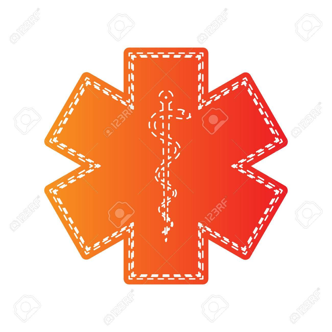 Medical Symbol Of The Emergency Star Of Life Orange Applique