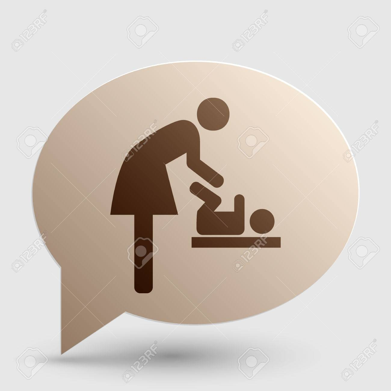 Symbol for women and baby baby changing brown gradient icon symbol for women and baby baby changing brown gradient icon on bubble with shadow biocorpaavc Gallery