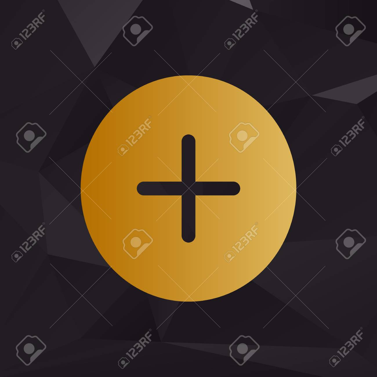Positive symbol plus sign golden style on background with positive symbol plus sign golden style on background with polygons stock vector 63162458 biocorpaavc Choice Image