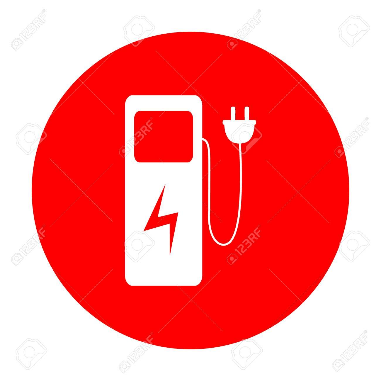 Elektro-Auto Ladestation Zeichen. Weißes Symbol Auf Rotem Kreis ...
