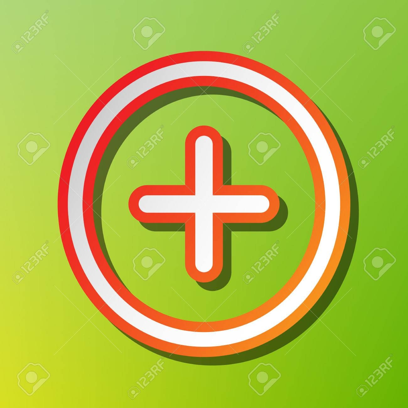 Positive Symbol Plus Sign Contrast Icon With Reddish Stroke On