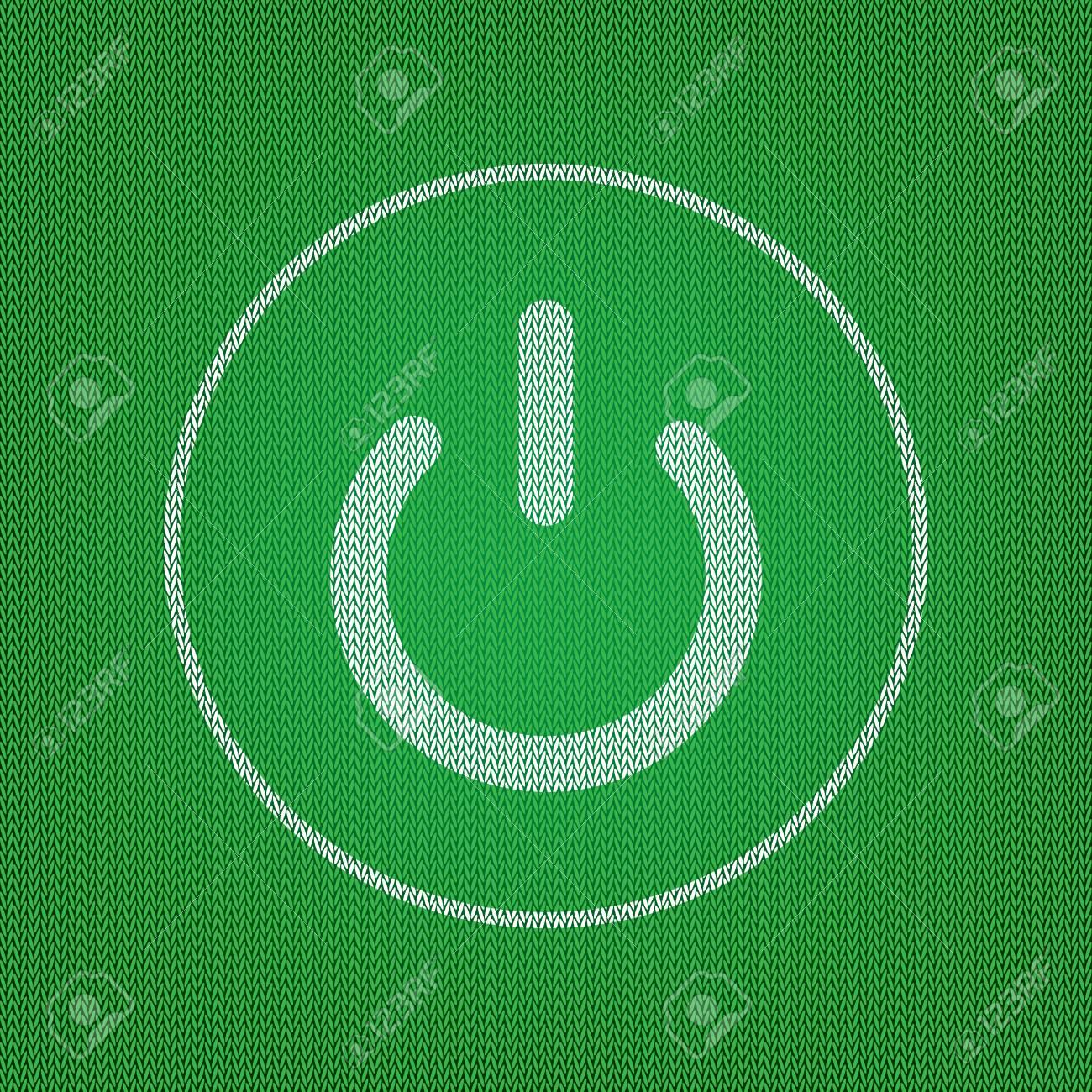 Ein Aus-Schalter-Zeichen. Weißes Symbol Auf Der Grünen Strickwaren ...