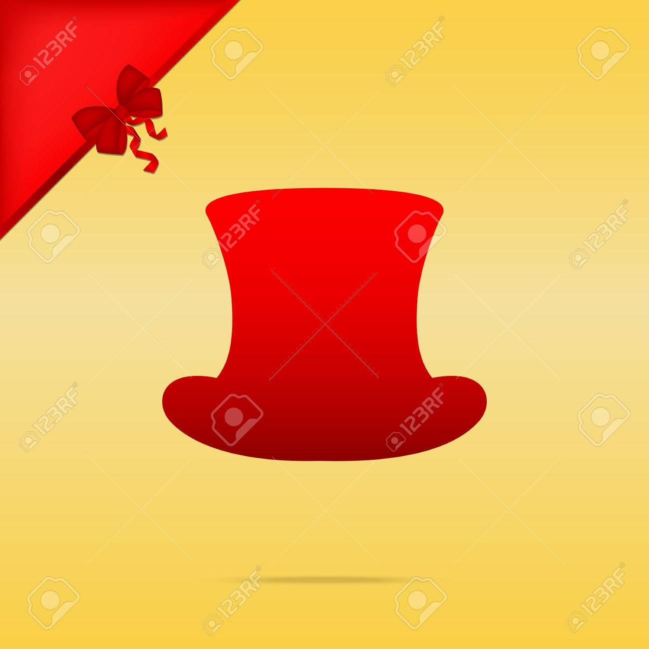 Foto de archivo - Signo sombrero de copa. Cristmas diseño de iconos de color  rojo sobre fondo de oro. a6944e37d490