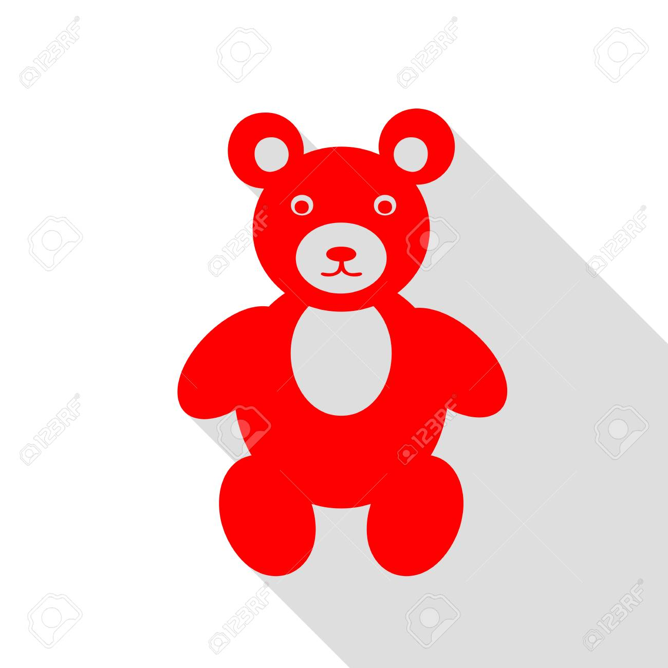 teddy bear sign illustration red icon with flat style shadow
