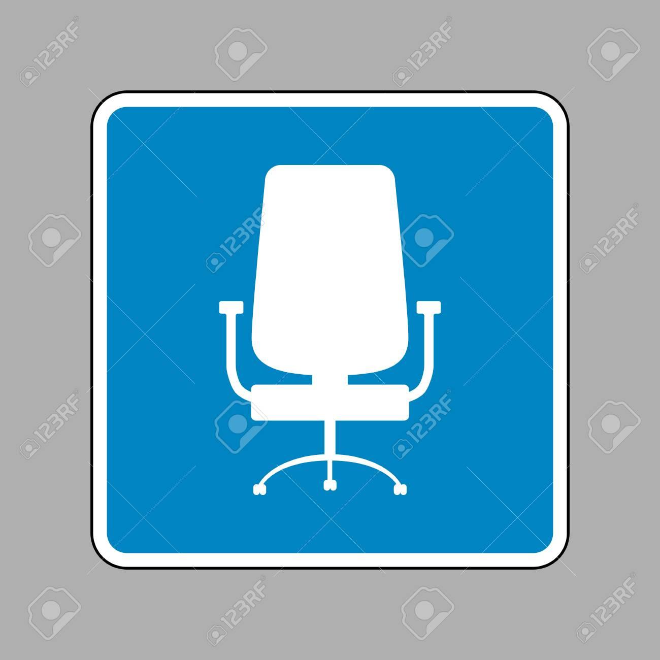 De BureauIcône Blanche Signe Plan Sur Le Comme Arrière Chaise Panneau Bleu n0k8wOP