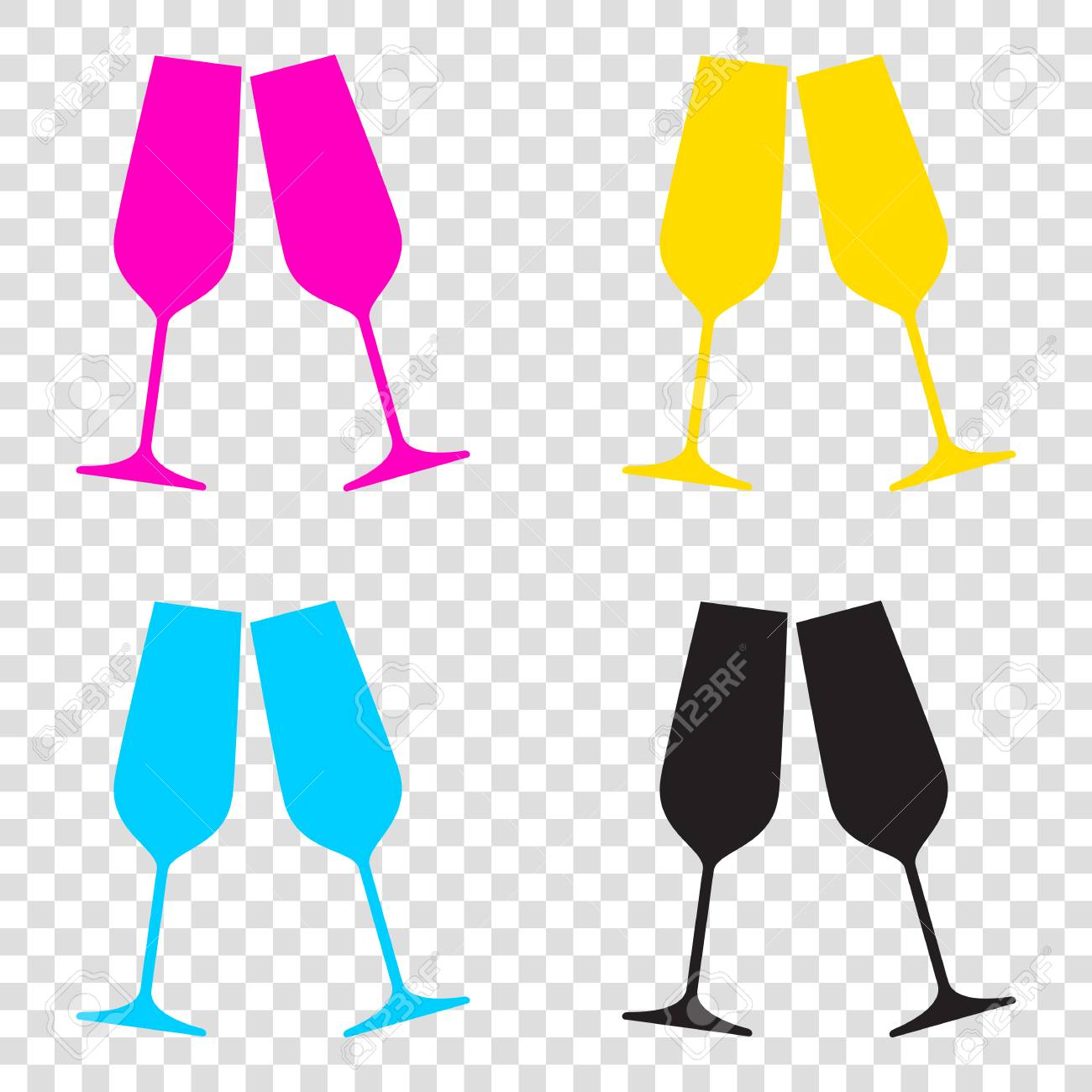 3a8146f06b0b Sparkling champagne glasses. CMYK icons on transparent background. Cyan