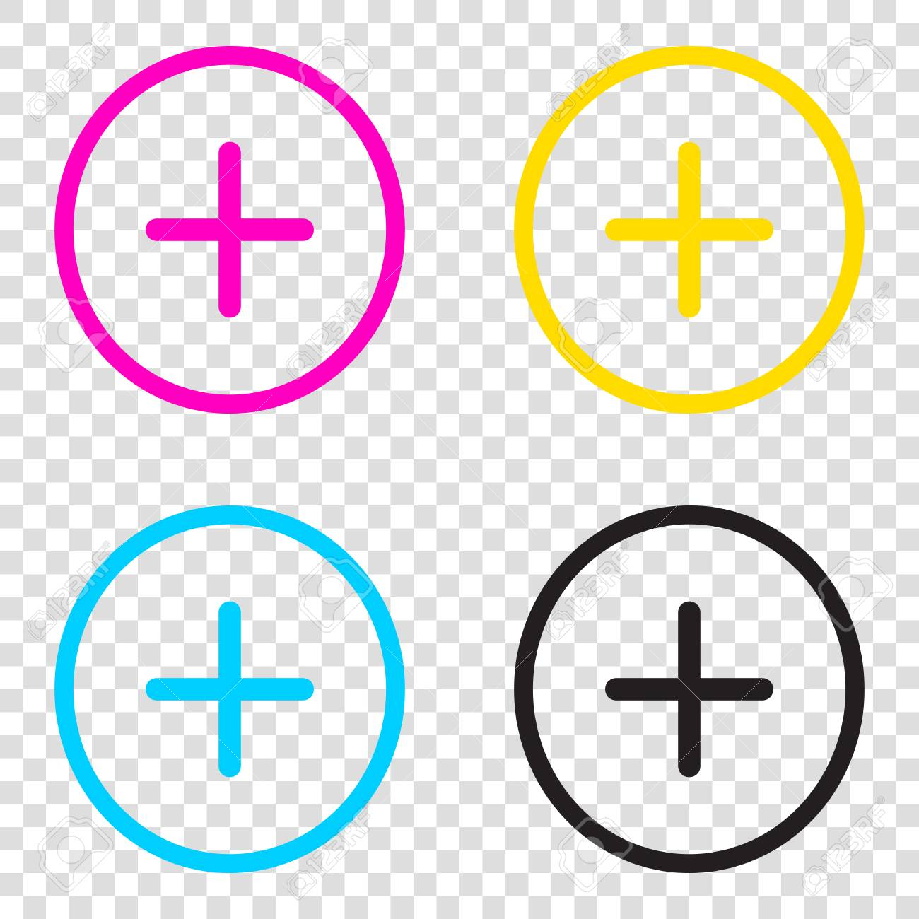 Positive symbol plus sign cmyk icons on transparent background positive symbol plus sign cmyk icons on transparent background cyan magenta yellow biocorpaavc Choice Image