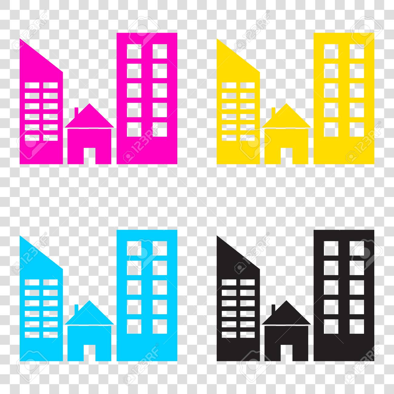 50674fe055c2 Real Estate Sign. CMYK Icons On Transparent Background. Cyan ...
